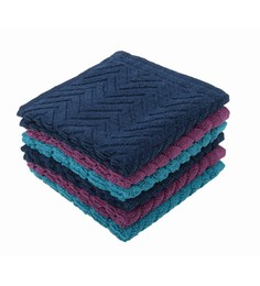 Softweave Multicolour 100% Cotton 12 X12 Face Towel - Set Of 6 - 1590672