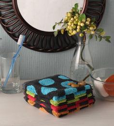 Softweave Multicolour Cotton 12 X 12 Inch Face Towel - Set Of 4 - 1503144