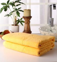 Softweave Yellow Cotton 55 X 28 Inch Bath Towel - Set Of 2
