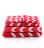 Softweave Pink and Red Cotton Bath, Hand, Face Towel - Set of 5