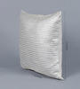 Solaj Silver Cotton 16 x 16 Inch Metallic Cushion Cover