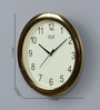 Solar Gold Plastic 11 Inch Round Wall Clock