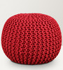 Spin Cotton Knitted Pouffe in Red Colour by Purplewood
