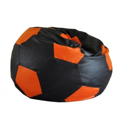Style HomeZ Black N Orange XXL Patched Football Bean Bag