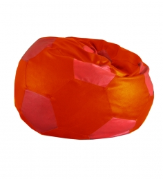 Style HomeZ Orange N Red XXL Patched Football Bean Bag Cover (Without Beans)