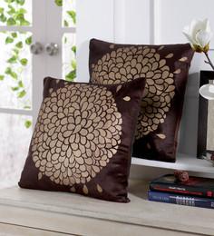 Stybuzz Black Velvet 16 X 16 Inch Gold Print Cushion Cover - Set Of 5