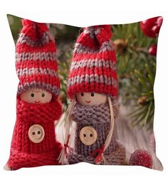 Stybuzz Cute Winter Dolls Christmas Cushion Cover