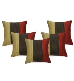 Stybuzz Multicolour Dupioni Cushion Cover - Set Of 5