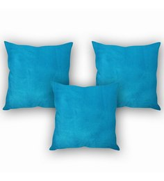 Stybuzz Blue Velvet 16 X 16 Inch Lush Cushion Covers - Set Of 3