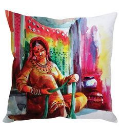 Stybuzz Multicolor Silk 16 X 16 Inch Traditional Rajasthani Woman Multicolour Cushion Cover