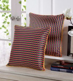 Stybuzz Yellow Dupion Silk 16 X 16 Inch Colour Block Embroidered Cushion Cover - Set Of 5