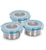 Steel Lock Airtight 3 pc Lunch Meal Box Tiffin with Blue Insulated Bag