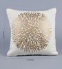 Stybuzz Cream Velvet 16 x 16 Inch Gold Print Cushion Cover - Set of 5