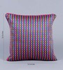 Stybuzz Pink Dupion Silk 16 x 16 Inch Colour Block Embroidered Cushion Cover - Set of 5