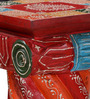 Kvana - Painted End Table in Red & Orange Color by Mudramark