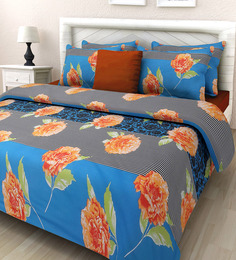 Swastika Blue Cotton Queen Size Bed Sheets Set Of 3