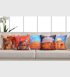 Swayam Multicolor Cotton 16 X 16 Inch Heritage India Digital Print Cushion Covers - Set Of 5