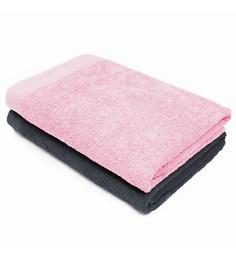 Swiss Republic Grey And Pink Cotton 28 X 59 Bath Towel - Set Of 2