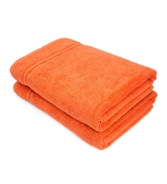 Swiss Republic Orange Cotton Bath Towel - Set Of 2