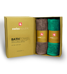 Swiss Republic Set Of 2 Luxury Egyption Cotton Bath Towel In Fossil And Teal Blue