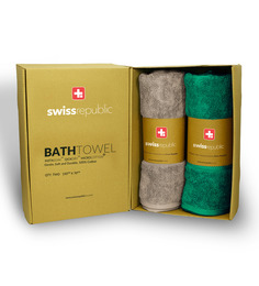 Swiss Republic Set Of 2 Luxury Egyption Cotton Bath Towel In Plaza Taupe And Teal Blue