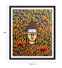 Tallenge Photographic Paper 18 x 1 x 24 Inch Buddha With Flowers And Leaves Framed Digital Art Print