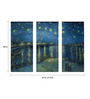 Tallenge Vinyl 36 x 0.5 x 24 Inch The Starry Night Over The Rhone by Vincent Van Gogh Premium Quality Ready to Hang Framed Art Panels - Set of 3