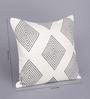 Tasar Black & White Silk 16 x 16 Inch Diamond Cushion Cover