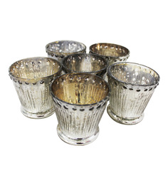 Tezerac Decorative Mercury Silver Glass Set Of 6 Votive Holders