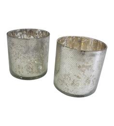 Tezerac Silver Glass Dotted Tea Light Holder - Set Of 2