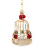 Gupta Glass Gallery Multicolour Metal Moti Hanging Fancy Cage with Flower Tea Light Holder