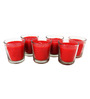 Tezerac Red Rose Wax Glass Candle - Set of 6