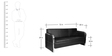 Three Seater Sofa in Black Colour by Karigar
