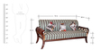 Three Seater Sofa with Carved Wooden Legs in Brown Polish by Karigar