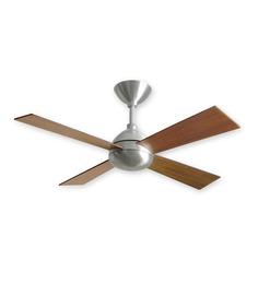 The Fan Studio Sapphire Brushed Aluminium With Wooden Walnut Blades 1200 Mm Designer Celing Fan