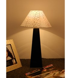 The Lamp Store White & Silver Poly Cotton Facinating Table Lamp - 1492567