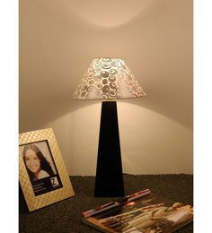 The Lamp Store White & Silver Poly Cotton Lamp Shade