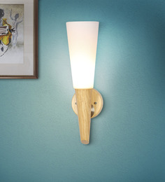 The Light Store White Glass And Wood Wall Light