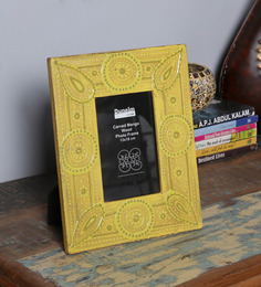 The Mikky Shoppe Station Yellow MDF 10 X 2 X 8 Inch Handpainted Jodhpuri Photo Frame