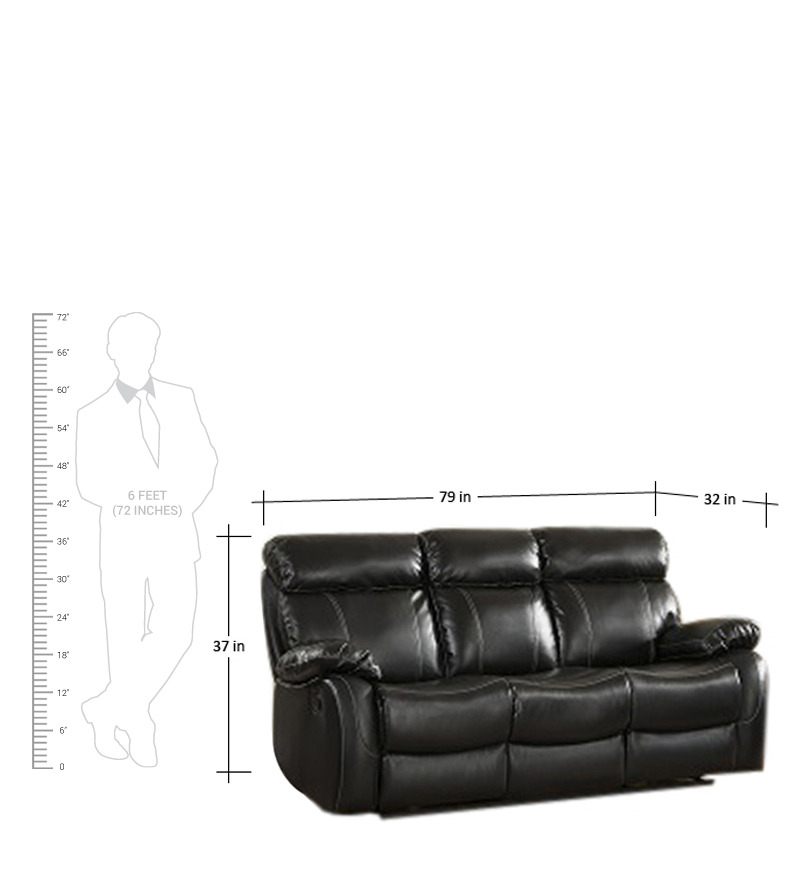 Leather Sofa Sale India: Three Seater Pure Leather Recliner Sofa In Black Colour By