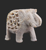 The Nodding Head Green & White Marble Small Jalicut Elephant Figurine Showpiece