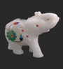 The Nodding Head White Stoneware Trunk Up Elephant with Blue & Green Flowers Showpieces - Set of 2