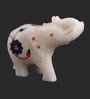 The Nodding Head White Stoneware Trunk Up Elephant with Blue & Red Flowers Showpieces - Set of 3