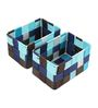 The Quirk Box Cloth Blue & Black Storage Basket - Set of 4