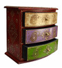 The Shopy Multicolour Solid Wood Vintage Table Top Collectible with 3 Drawers