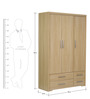 Nareshi Three Door Wardrobe with Four Drawers in Oak Finish by Mintwud