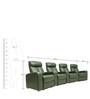 Four Seater Motorized Half Leather Recliner Home Theater Sofa in Half Leather Green Colour by Star India