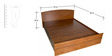 Trendy Design Bed with Half Lifton Hydraulic Storage in Teak Finish by Zuari