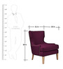 Transitional Wingback Chair with Nailhead Details in Purple Colour by AfyDecor
