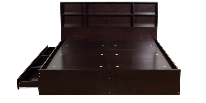 Fabulous Tsukiko Queen Bed with Side Box Storage in Wenge Finish by Mintwud in Rs mrp Pepperfry
